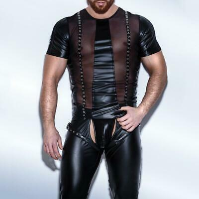 Sexy Faux Leather Herren Glanz Mesh Wet Look Men Gay T-shirt Tops Clubwear SH35