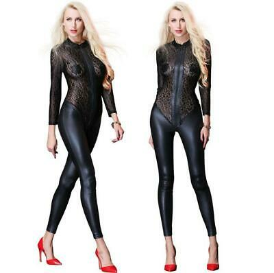 Sexy Leopard Lace Mesh Bodysuit Wet Look Catsuit Jumpsuits Romper Overall SH93