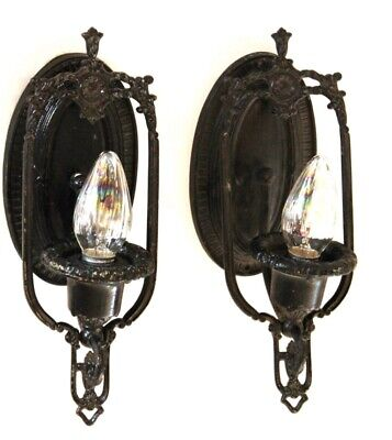 Pair of Antique Gothic Black Victorian Wrought Iron Wall Sconces