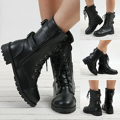 Womens Low Heel Flat Block Boots Zip Lace Up Biker Military Combat Black Shoes