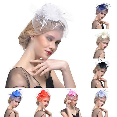 Ladies Veil Feather Fascinators Hair Clips Cocktail Hats Wedding Birdcage Race