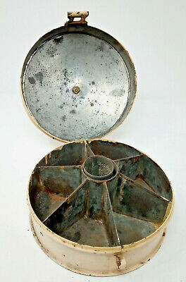 19th Century Circular Hinged Tin Spice Box Sectioned Interior & Spice Grater