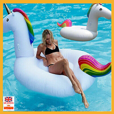 UK Giant Inflatable Unicorn Water Float Raft Ride On Pool Lounger Beach Toy Gift