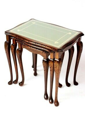 Vintage Mahogany Leather Top Nest of 3 Tables - FREE Shipping [5360]