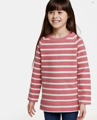 Fat Face Girls Pink Stripe Sparkle Crew Neck Sweat - Age: 10-11 Years