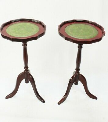 Pair of Antique Georgian Style Mahogany Leather Top Wine Tables [5363]