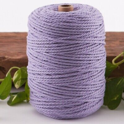 purple 4mm macrame 3 strand rope 1kg 230m coloured string ply cotton cord