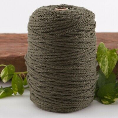 khaki 4mm macrame 3 strand rope 1kg 240m coloured string ply cotton cord olive
