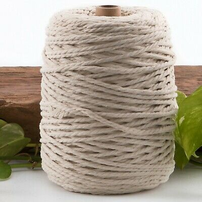 natural 4mm macrame 3 strand rope 1kg 210m coloured string ply cotton cord beige