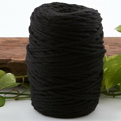black 4mm macrame 3 strand rope 1kg 220m coloured string ply cotton cord