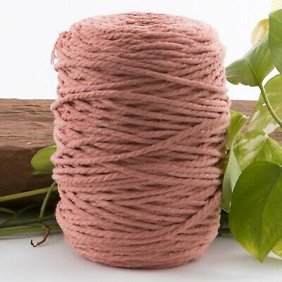dusty peach 4mm macrame 3 strand rope 1kg 240m coloured string pink cotton cord