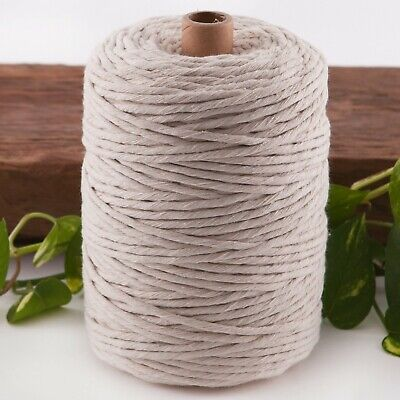 3mm macrame cord 240m natural string 1 ply beige cotton rope single strand