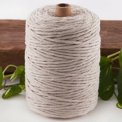 4mm macrame cord 200m natural string 1 ply beige cotton rope single strand