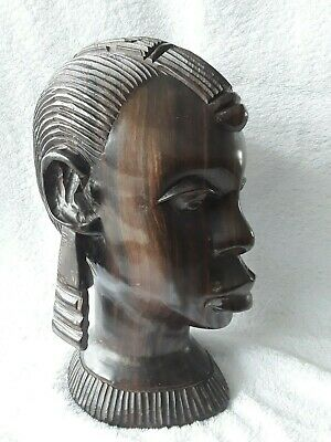 Beautiful Vintage African Female Hand Carved Wooden Head