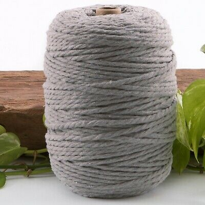 light grey 4.5mm macrame 3 strand rope 1kg 195m coloured string 4mm cotton cord