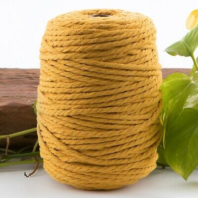 5mm yellow mustard macrame rope 1kg 145m coloured 3ply cotton cord string strand