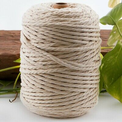 5mm natural macrame rope 1kg 130m beige 3ply cotton cord string strand twisted