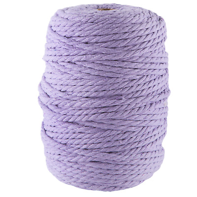5mm purple macrame rope 1kg 150m coloured 3ply cotton cord string strand twisted