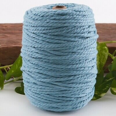 5mm blue macrame rope 1kg 150m coloured 3 ply cotton cord string strand twisted