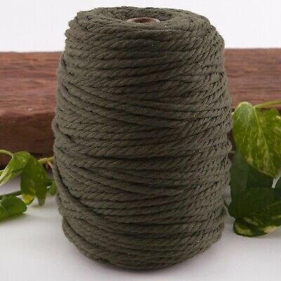 5mm khaki macrame rope 1kg 160m coloured 3ply cotton cord string strand olive