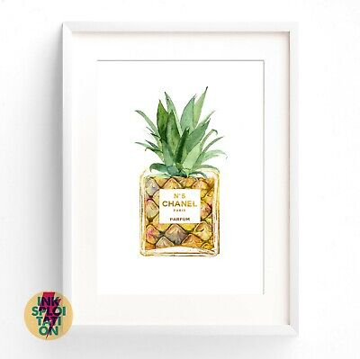 COCO CHANEL Pineapple Watercolour Print or Canvas