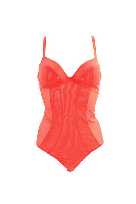 L'Agent by Agent Provocateur Womens Semi Sheer Teddy Mesh Red Size UK 34B