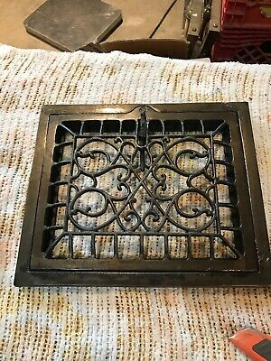J 37 swirly Design Cast-Iron wall mount heating grate face 9 7/8 X 11 7/8