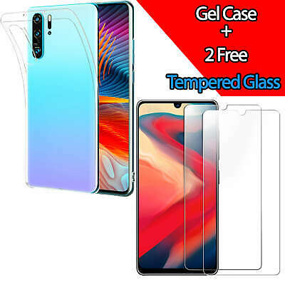 Clear Gel Case For Huawei P30 Pro P20 Mate 20 Lite Tempered Glass Screen Cover