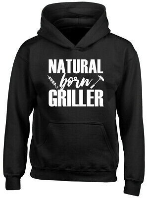 Natural Born Griller Barbecue Boys Girls Childrens Kids Hooded Top Hoodie
