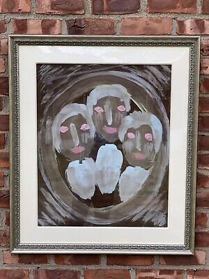 Alabama Outsider Artist Sybil Gibson Portrait Painting Three Faces. Signed. 1993