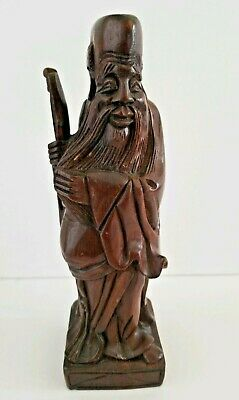 Chinese Wood Carving Statue Taoist Boxwood Elder Immortal Figure Hand Carved