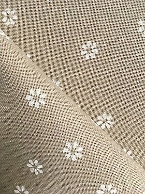 Mocha & white flower 32 Count Zweigart Murano even weave fabric - size options