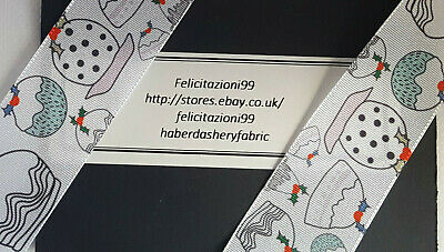 """Christmas Ribbon 25mm - 1""""  wide 100% polyester xmas Pudding sold by the metre"""