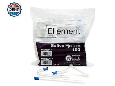 """ELEMENT Saliva Ejector CLEAR w/BLUE Tip Bendable Dental Disposable 6"""""""