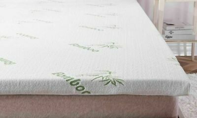 Bamboo Memory Foam Mattress Topper Enhancer 1 or 2 inch Thick Zipped Cover