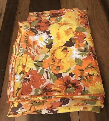 """Vintage Tablecloth Retro 70s Floral Fabric Orange Gold Green Rectangle 68x52"""" A1"""