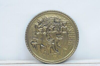 "Vintage 8.25"" England Embossed Brass Wall Pocket Pub Scene Tavern Scene"