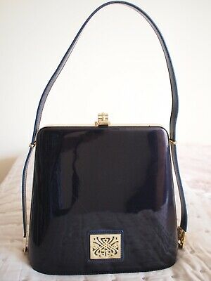 8866a6c4e446 Biba Black Patent Leather Bag. Adjustable Handle From Hand To Shoulder.