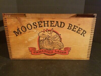 Vintage Moosehead Beer Wooden Dovetailed Wood Crate/Box With Lid