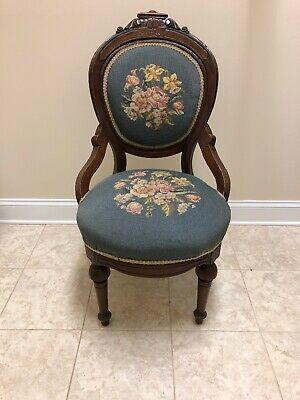 Antique Victorian Armchair Chair Carved Walnut With Blue Needlepoint