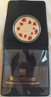 2015 POPPY £5 Five Pound Colour Coin - (Bailiwick of Jersey)  'Lest We Forget'