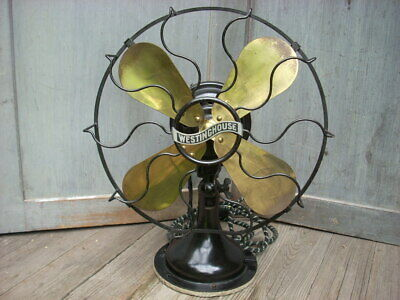 """1914 WESTINGHOUSE ELECTRIC CO. 12"""" Brass Blade Fan Oscillating 3 Speed """"Works"""""""