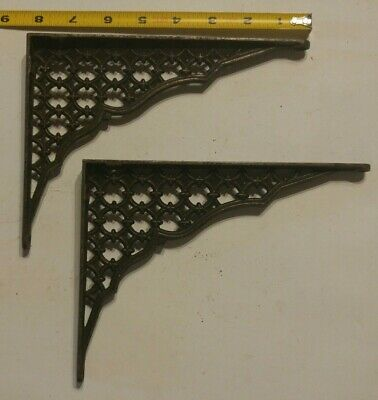 """2 Old Shelf Supports Brackets 6"""" X 8"""" Eastlake Style Rustic Iron Vintage"""