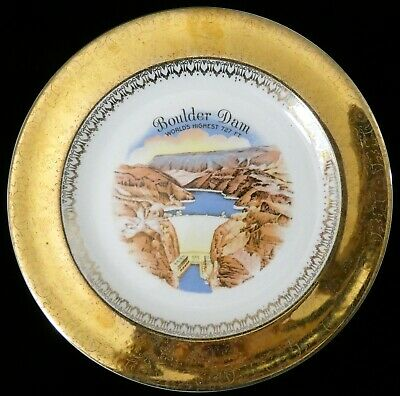 Vintage Boulder Dam Souvenir Plate 22k Gold Rim Views of America Series Enco