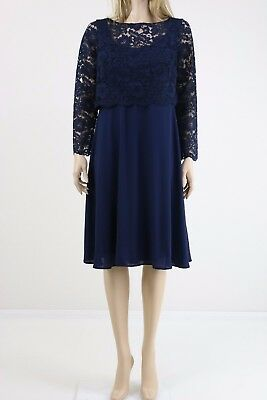 Queen Bee Navy Maternity Women's Lace Overlay Midi Cocktail Dress UK SIZE 14 42