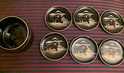 Lacquer set 6 tea caddy container Japanese rural scene by Igarashi Aizuwakama