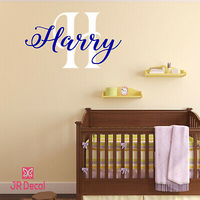 Wall Sticker Personalised Name Initial Boys two colours Nursery Art Vinyl Decals