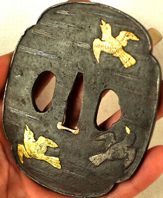 Old Japanese Sword Tachi Tsuba Gold Silver Birds Moon Clouds Forged Iron