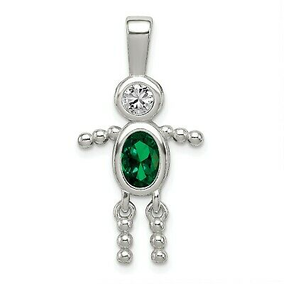 Sterling Silver CZ & May Glass Boy Pendant. (1.1INx0.5IN)