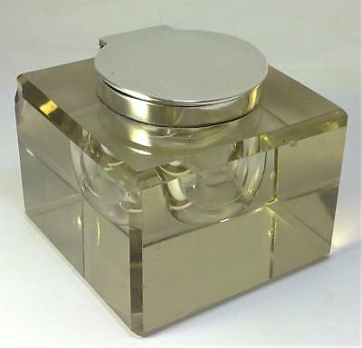 Antique Art Deco hallmarked Sterling Silver & Crystal Inkwell  – 1921 (1.165kg)